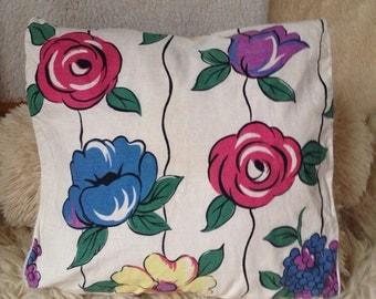 Vintage blue burgundy floral pillow cover 16x16