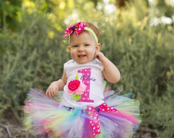 Baby Girl 1st Birthday Outfit - Cupcake Birthday Tutu - Hot Pink and Lime Green - Cake Smash