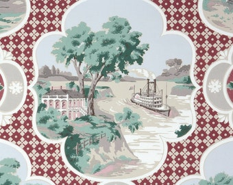 1950s Vintage Wallpaper by the Yard - Riverboat Scenic