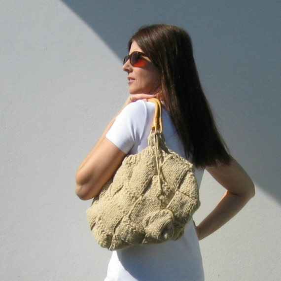SALE - Knit Tote Bag in Beige Cotton - Beach Bag