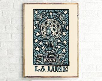 Occult Art, La Lune Moon Tarot Digital Poster Print Download Color, La Lune Moon Tarot Large 24x36 Poster Print Art, Printable File