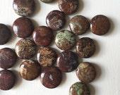 Green Opal Flat Round Beads 14mm