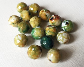 Green & Yellow Fire Agate 10mm Faceted Round
