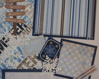 At the slopes...winter....ski...snow board...snow...TWO completed 12x12 Premade Scrapbook pages