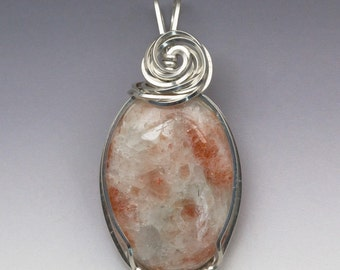 Sunstone Sterling Silver Wire Wrapped Pendant - Ready to Ship!