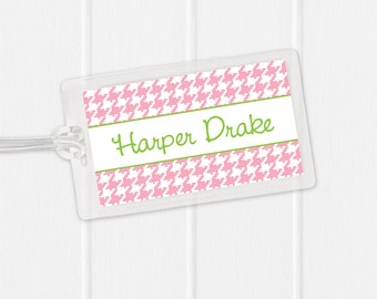 Houndstooth Laminated Bag Tag - Baby girl Bag Tag Luggage Tag - pink and black or choose any color - girls bag tag