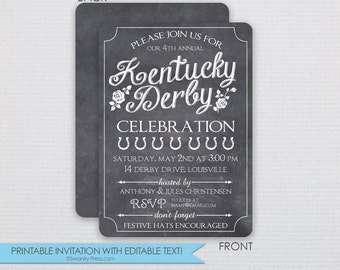 Chalkboard Kentucky Derby Invitation - Dinner Party - DIY - Instant Download & Editable File - Personalize at home with Adobe Reader