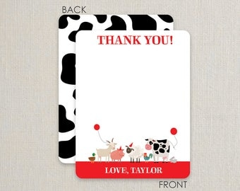 Party Animal - Farm Party - Thank you Notes - Flat Notecards Stationery with 2-sided printing - Red