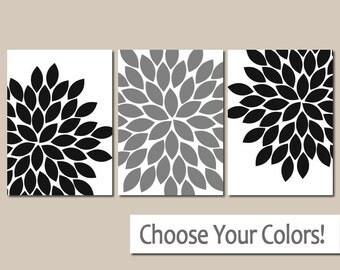 Black White Grey Wall Art, Bedroom Pictures, CANVAS or Prints, Black Bathroom Artwork, Flower Burst Dahlia Petals, Set of 3 Black Home Decor