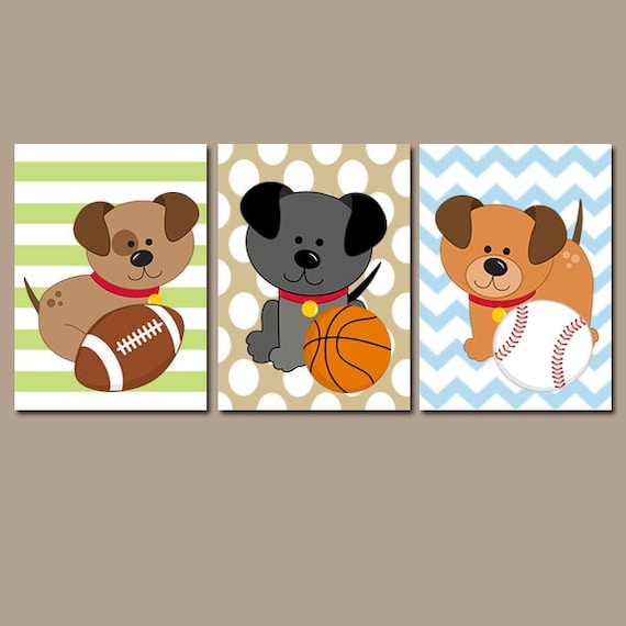 Wall Decorations Sports : Puppy dogs wall art baby boy bedroom sports nursery by