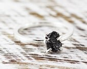 Uncut Diamond Ring Black Rough Sterling Silver Delicate Rings