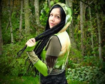 Hippie Coat wrap Top Festival Clothes Green Nebula Patchwork Coat Intergalactic Apparel