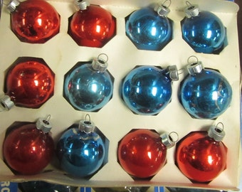 shiny brites christmas ornaments 2 inches red blue