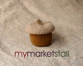 Acorn Jar with Removable Lid -Original - Brown Nut - Felted Wool - In Stock - Ready to Ship