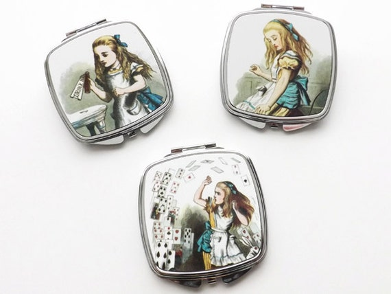 Alice Compact Mirrors set of 3 hand pocket party favors stocking stuffers hostess gifts for her drink me fashion accessories