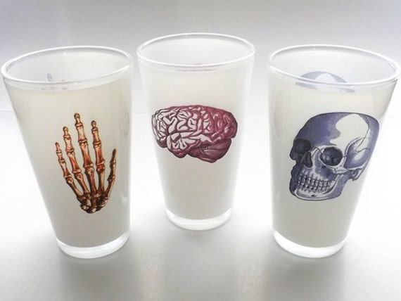 Anatomy BEER PINT glasses skull brain nursing gift for doctor male nurse med student stocking stuffer goth medical school human skeleton