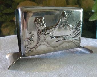 Vintage Silver Plate Art Nouveau Woman Napkin Holder Portugal