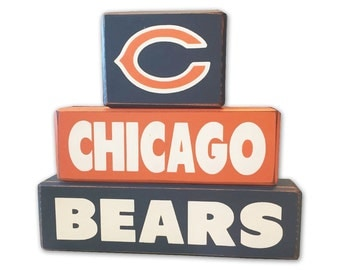 Chicago bears wood sign blocks distressed football home decor fathers day gift for him man cave super bowl sports room custom wood blocks