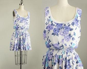 Cherie Vintage // 90s Vintage Cotton Lavender, Blue And White Floral Print Mini Dress / Size Small
