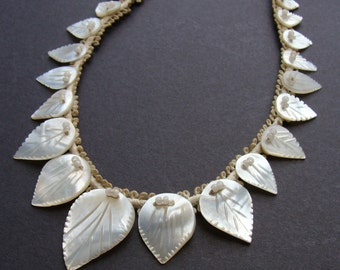 Vintage 1920s/1930s Carved Mother of Pearl Beaded Cord Necklace Trim