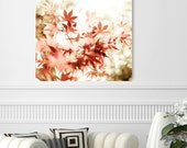 """Red canvas art, autumn photography,  coral red burnt orange,  red canvas art, fall leaves maple tree bokeh art  """"Red Stars"""""""