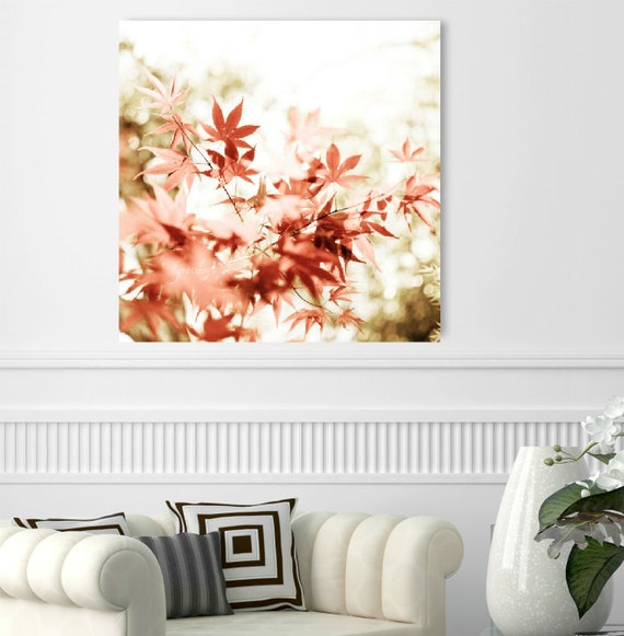 "Red canvas art - autumn photography -  coral red burnt orange -  red white canvas wrap - fall leaves - maple tree bokeh   ""Red Stars"""