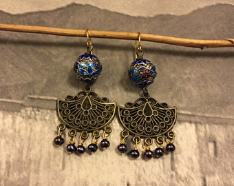 Vintage Cloisonne Beaded Earrings, Black Pearls