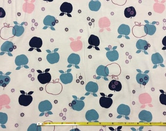 """Pink and blue apples on cotton lycra knit fabric 58"""" wide"""