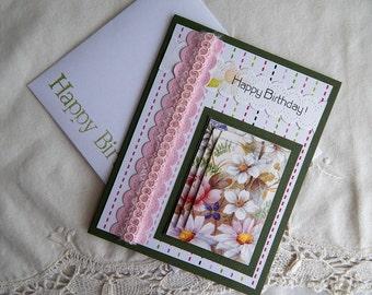 Handmade Birthday Card: complete card, handmade, balsampondsdesign, garden, pink, green, friend, sister, daughter