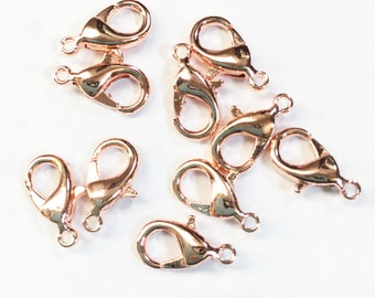 20 pcs of Rose plated  Brass  lobster claw clasp 12X7mm, rose gold clasp