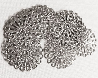 100 pcs of antique silver steel filigree focal findings 25mm