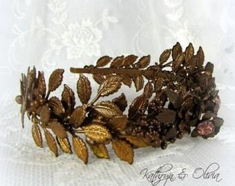 Bronze Leaf headband Tiara Crown Headpiece with Vintage Bronze Leaves & Rhinestone Flowers PP16