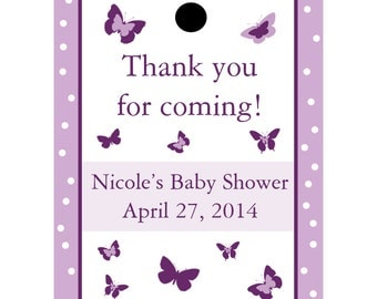 24 Personalized Baby Shower Favor Tags - Butterfly Design in Purple