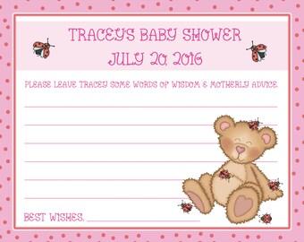 24 Personalized Baby Shower Advice Cards  - Ladybug Baby Shower - Teddy Bear Baby Shower - Ladybug Advice Cards