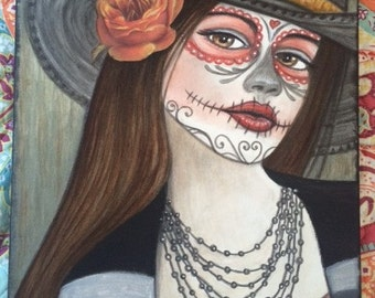 Original Fantasy Art Painting Day of the Dead Cowgirl on stretched canvas