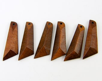 Wood Earrings Findings Brown Angular Triangle Geometric Dimentional Jewelry Dangle Charm |BR3-5|6