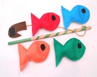 Felt Fishing Game Fishing Toy Fish Game Ecofriendly, Montessori Toy - READY MADE