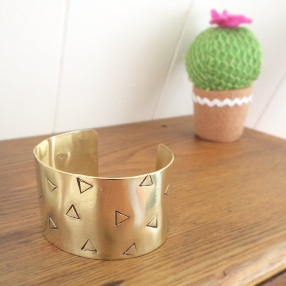 Gorgeous Raw Brass Wide Cuff with Triangles - Geometric - Bangle - Stacker - Festival - Modern -