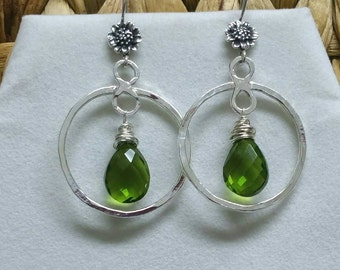 Circle Earrings, Green Quartz Earrings,  Sterling Flower Earrings, Dangle Earrings, Hammered Earrings, Handmade JewelryMaggie McMane Designs