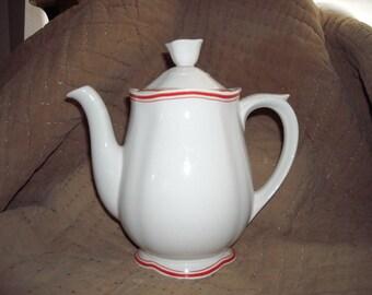 Vintage Porcelain Arabia Finlandia Coffee or Tea Pot White Cream Color with Red Trim