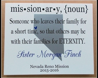 14x11 LDS Missionary Plaque with State, Country*, or Flag* - Wood with Vinyl Lettering