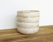 Reserved for Sherri - Rustic Pottery Soup Bowls in Satin Oatmeal Glaze - Set of 4
