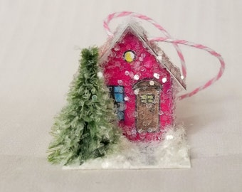 Vintage Putz Style Handmade Reproduction Tiny Miniature Pink Glitter Sugar House Cottage with Pine Tree for your Christmas Village Ornament
