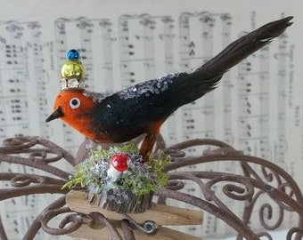 One of a Kind Sweet Little Orange Finch Vintage Altered Art Woodland Bird with a Crown Glitter and Moss Fairy Ornament Clip