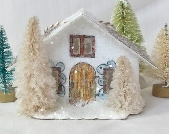 Handmade Vintage Putz Style Miniature White Glitter House Woodland Cottage with Beige Trees for your Christmas Village or Tree Ornament