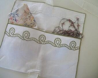 Vintage Linen Lingerie Bag, Jewelry Bag