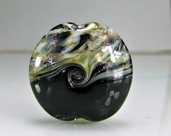 Black Grey Silver SRA Lampwork Focal Bead