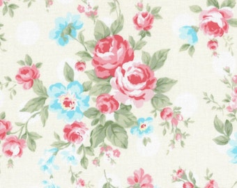 SALE White Polka Dot Roses 31265 10 by Lecien Fabrics Princess Rose Clearance
