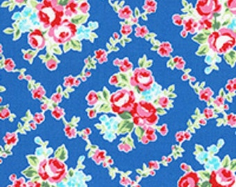 Country Blue Pink Lattice Rose Floral 31269 77 Fabric by Lecien Flower Sugar