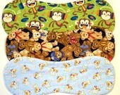 Quilted Contoured Baby Burp Cloths ~ Set of 3 ~Triple Layer ~ Flannel & Fleece ~ Baby Boy ~ Set #BC/32A